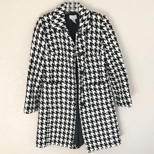 Black and White Houndstooth Jacket Pea Coat